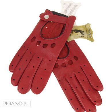rękawiczki skórzane czerwone-