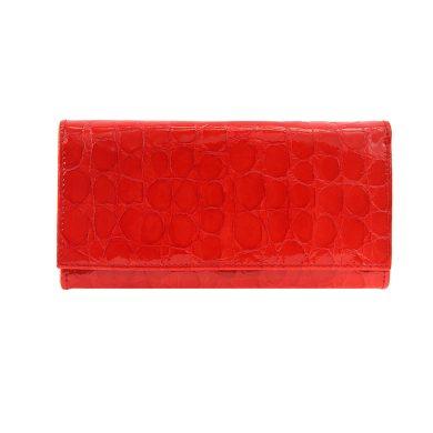 Czerwona portmonetka skórzana lakierowana